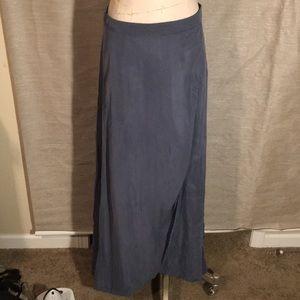 Sage steel blue floor length skirt
